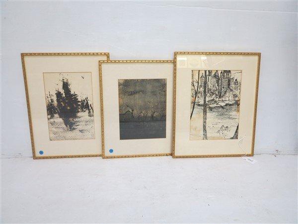 3 Framed Pencil signed prints