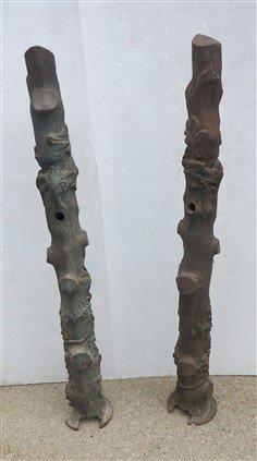 Decorative Victorian cast iron gate posts