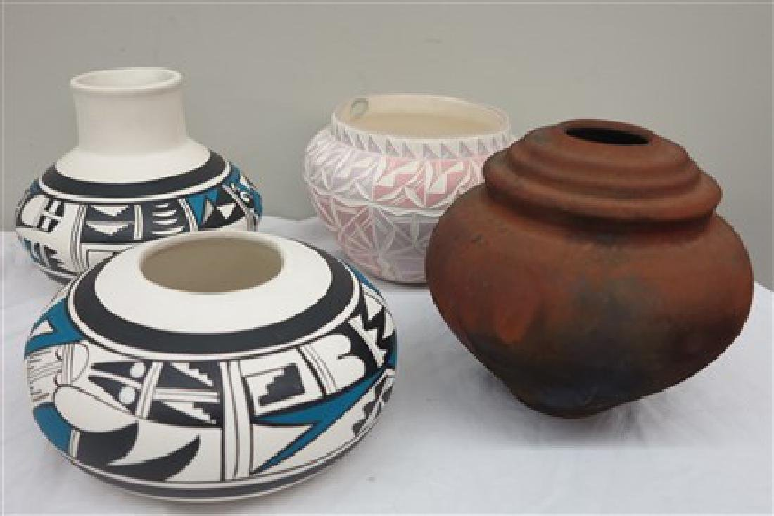 4 pieces signed Southwest pottery