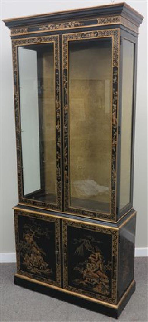 4 door chinois decorated cab. & brass fire screen