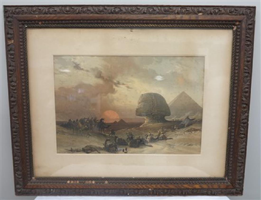 Framed hand colored paint
