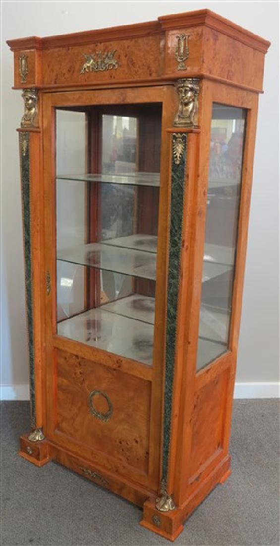 Burl wood glass cabinet