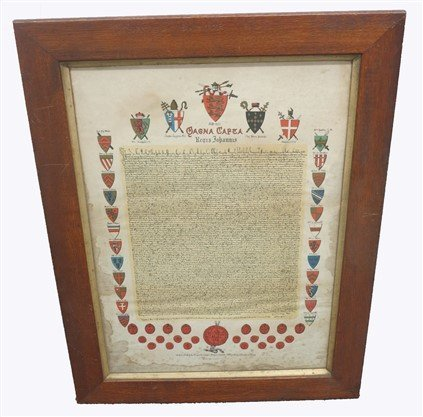Framed British coat of arms document
