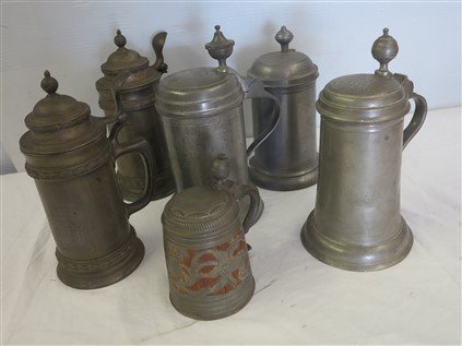 6 early pewter steins