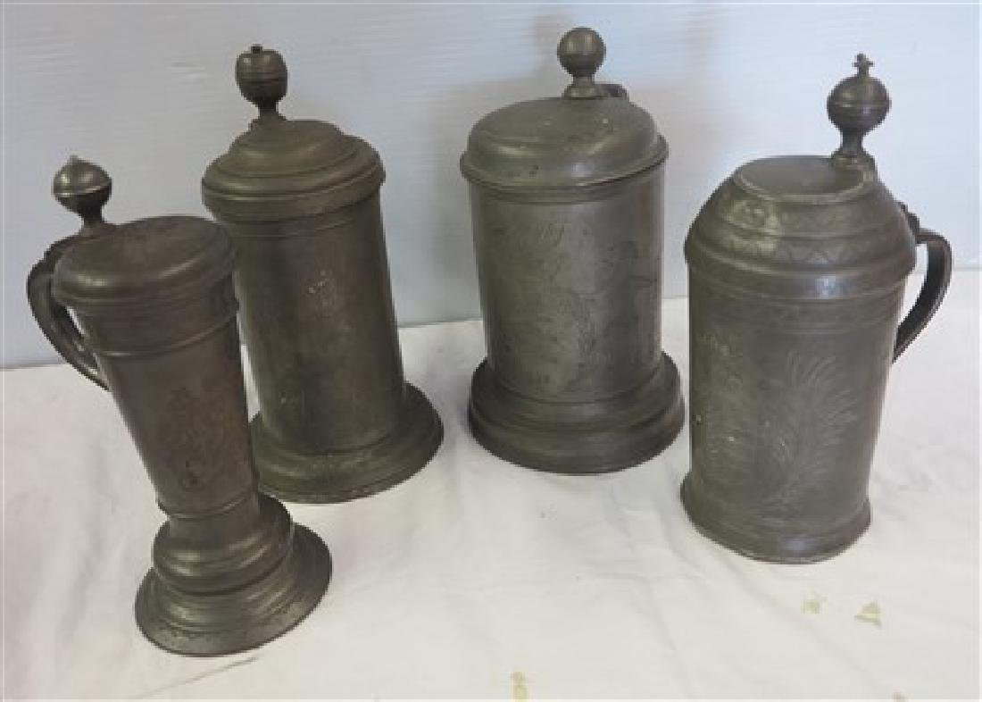 4 piece early pewter lot