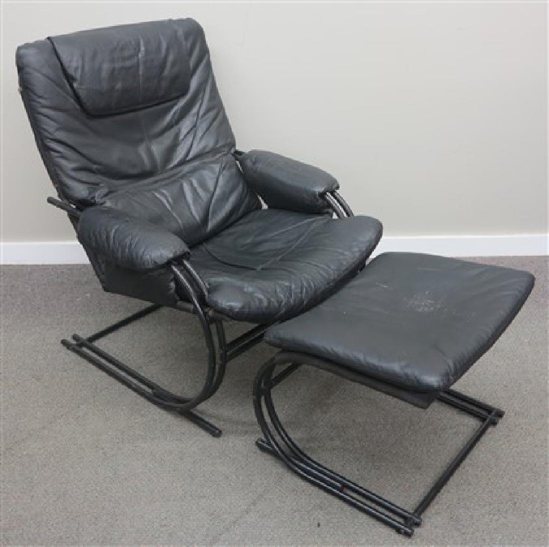 Leather mid-century chair and ottoman