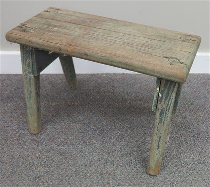 Primitive footstool in green paint & early bench - 2
