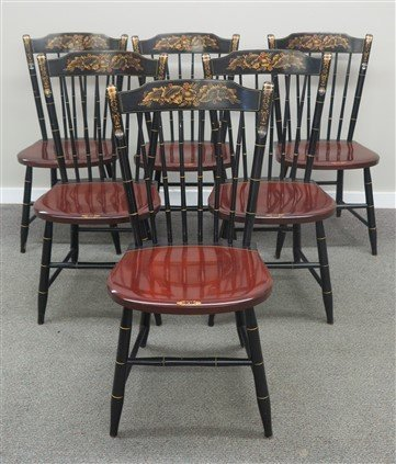 Slick clean Hitchcock table and 6 chairs