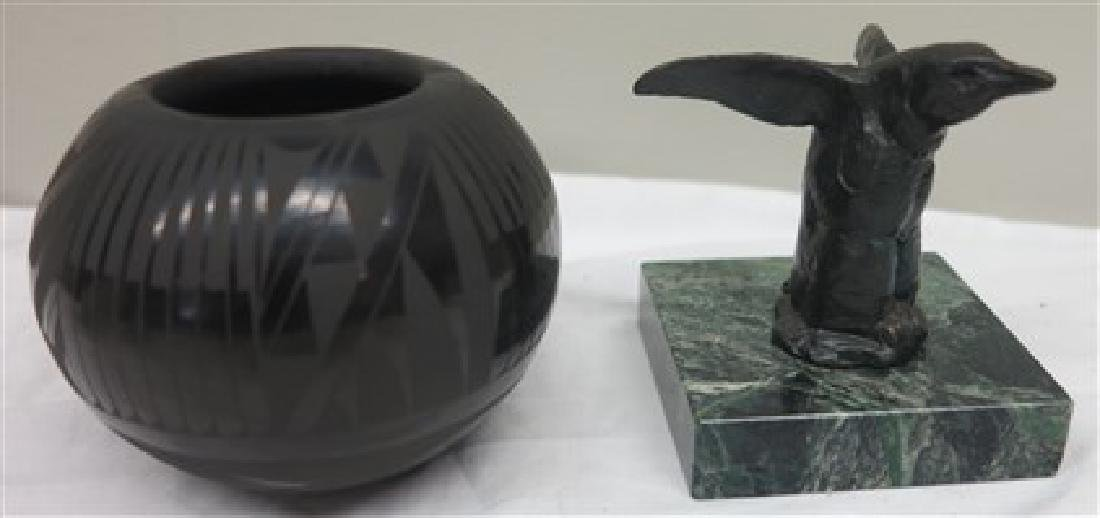 Sw bowl and Native American sculpture