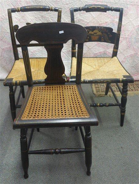 3 stencilled chairs