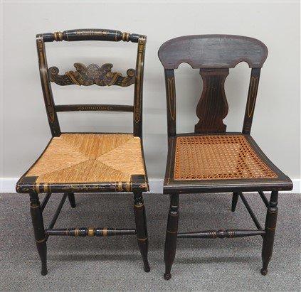 3 stencilled chairs - 3