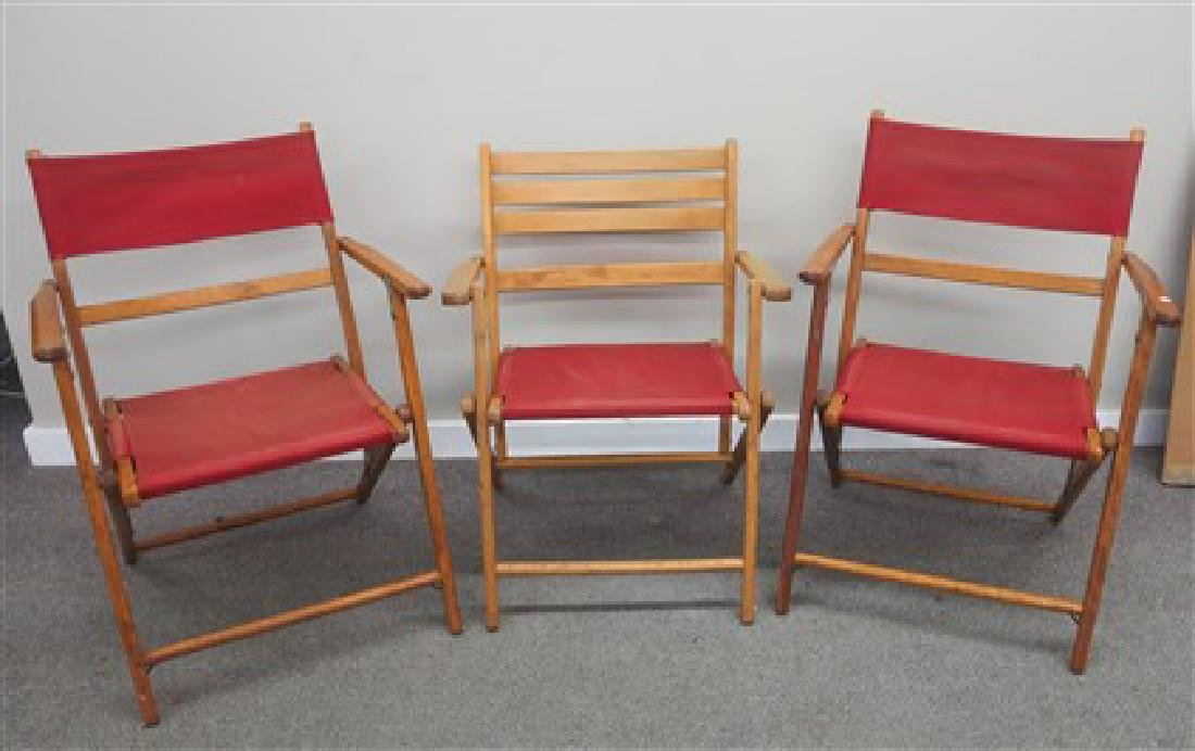 3 folding maple and canvas chairs
