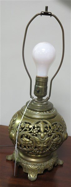 Brass lamp and framed hand colored portrait - 2