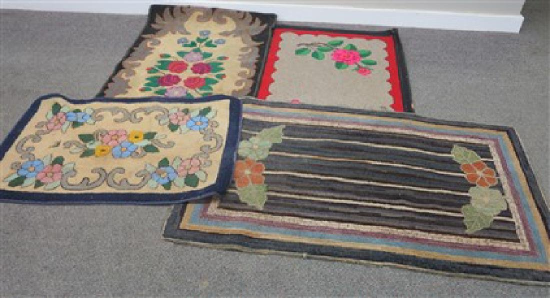4 19th century hooked rugs