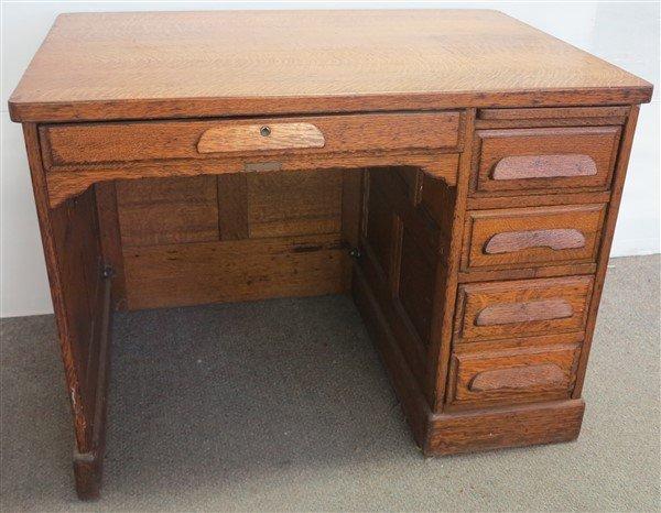 Flat top oak writing desk