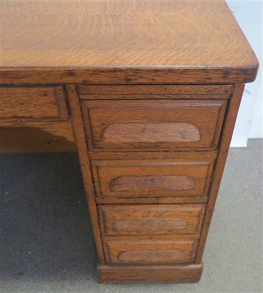 Flat top oak writing desk - 2