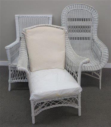 3 Antique Wicker Chairs