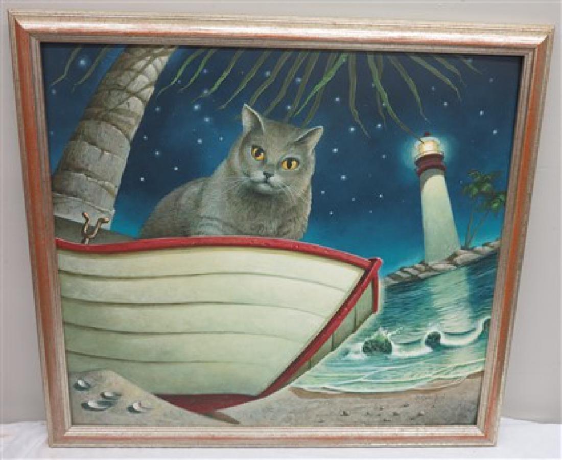 Signed Crawford Print- Cat & light house