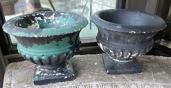 Pair 11 1/2 concrete planters
