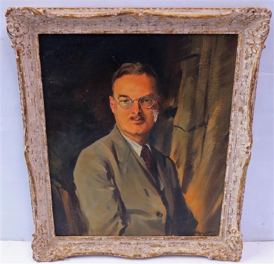 Framed o/c Portrait signed. Haupt