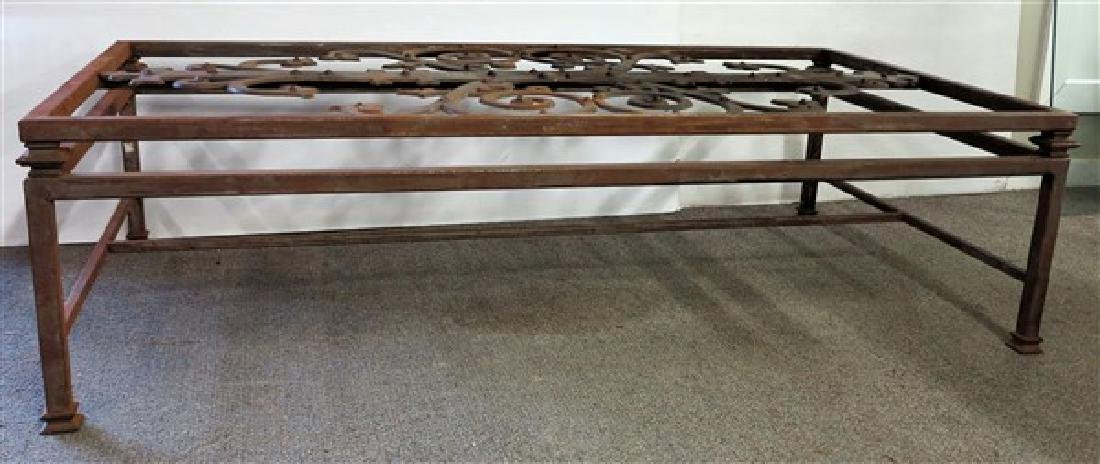 Large Iron & Glass Coffee Table