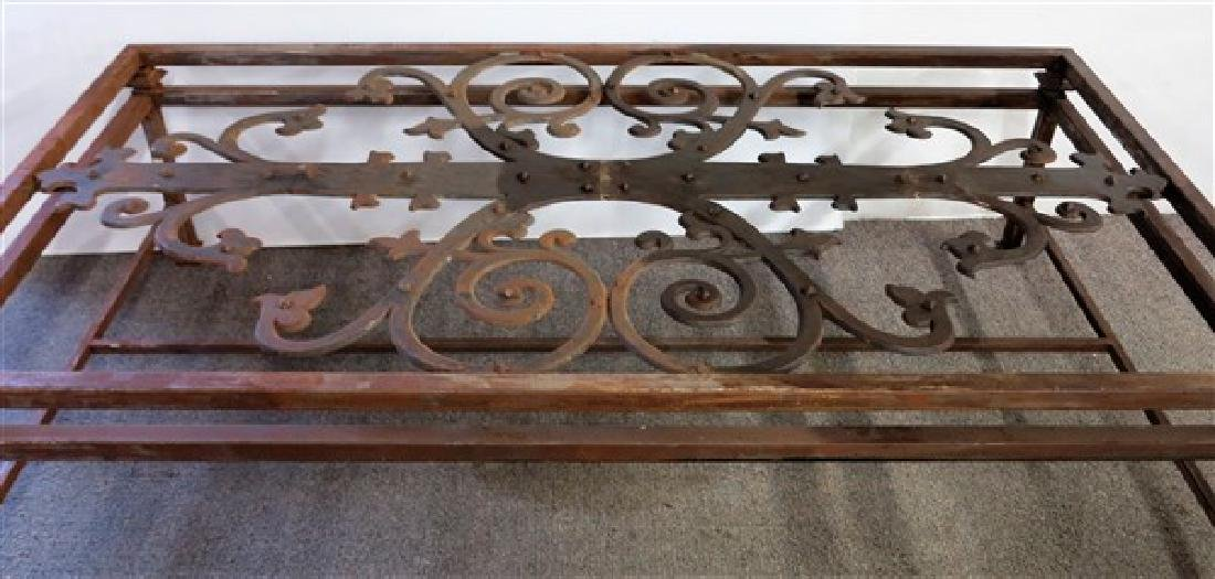 Large Iron & Glass Coffee Table - 2