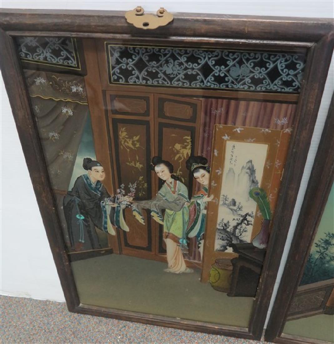 2 Framed Oriental Reverse Paintings on glass - 2