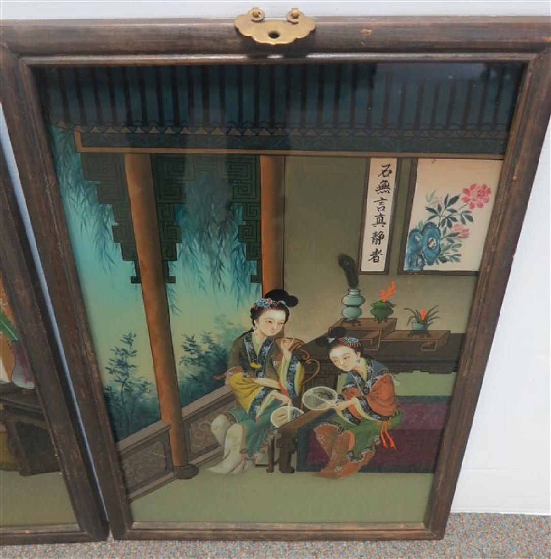 2 Framed Oriental Reverse Paintings on glass - 3