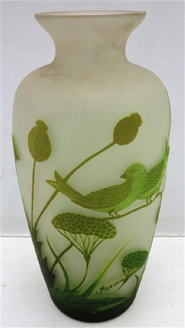 """15.5"""" art glass vase signed L. Morarm"""