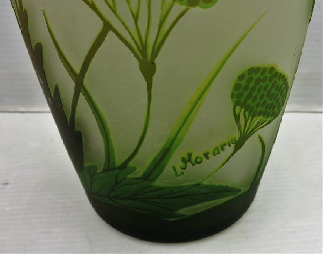 """15.5"""" art glass vase signed L. Morarm - 2"""