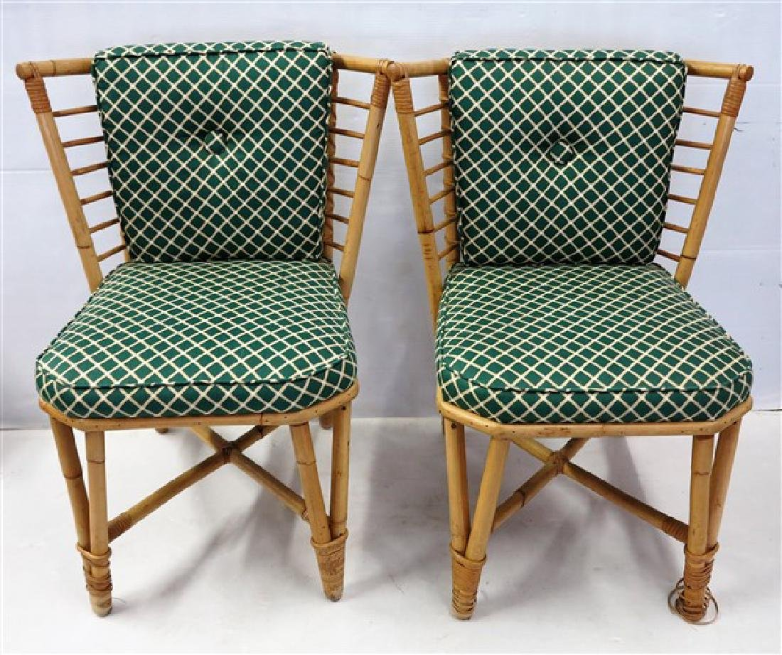 Pr Rattan side chairs