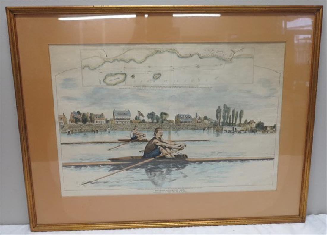 Framed English prints, hand colored rowing print 26 X