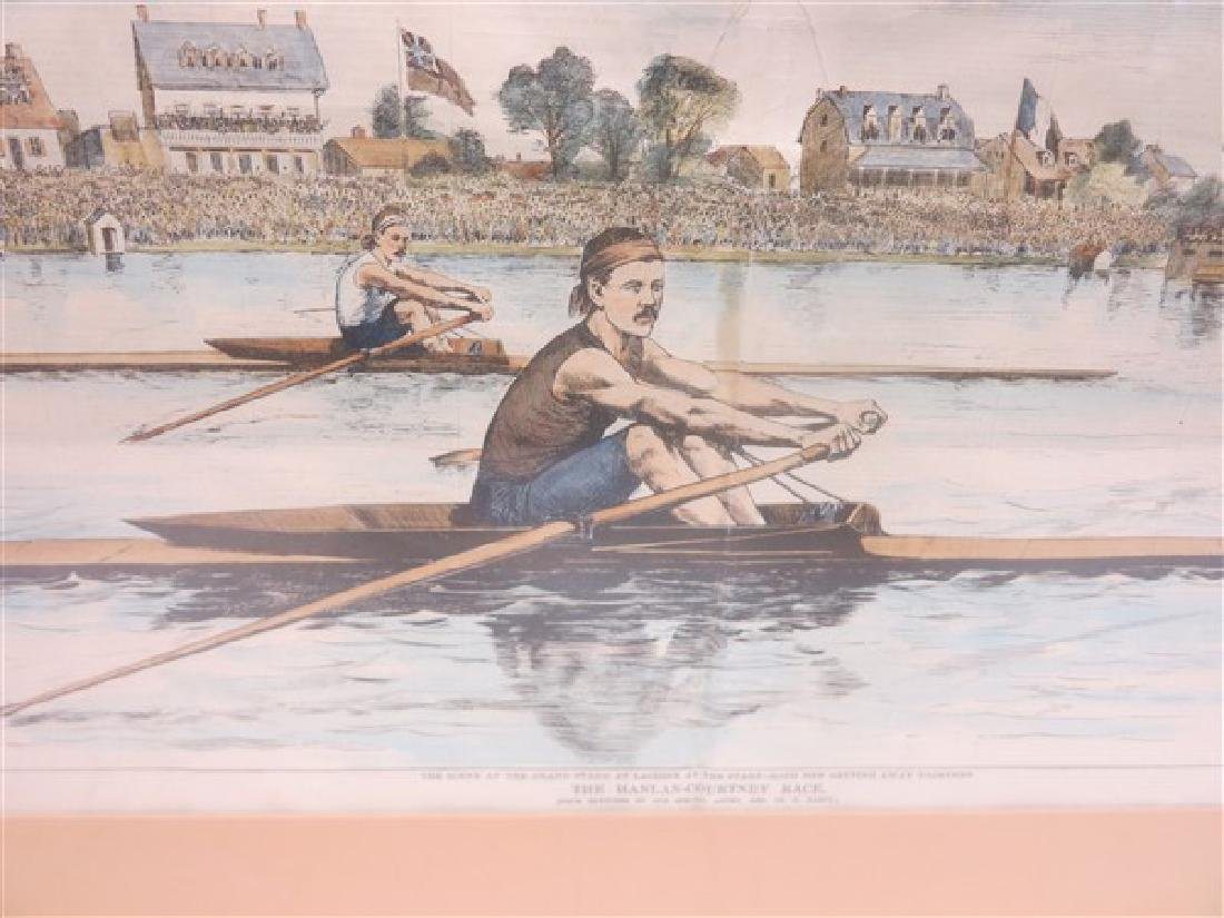 Framed English prints, hand colored rowing print 26 X - 2