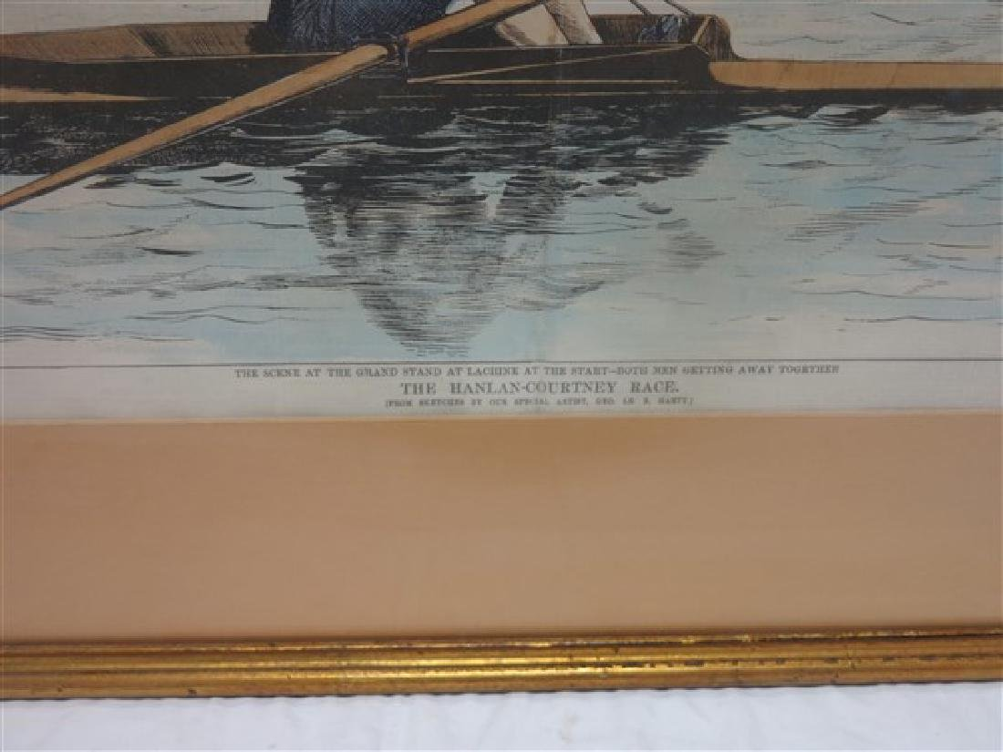Framed English prints, hand colored rowing print 26 X - 3