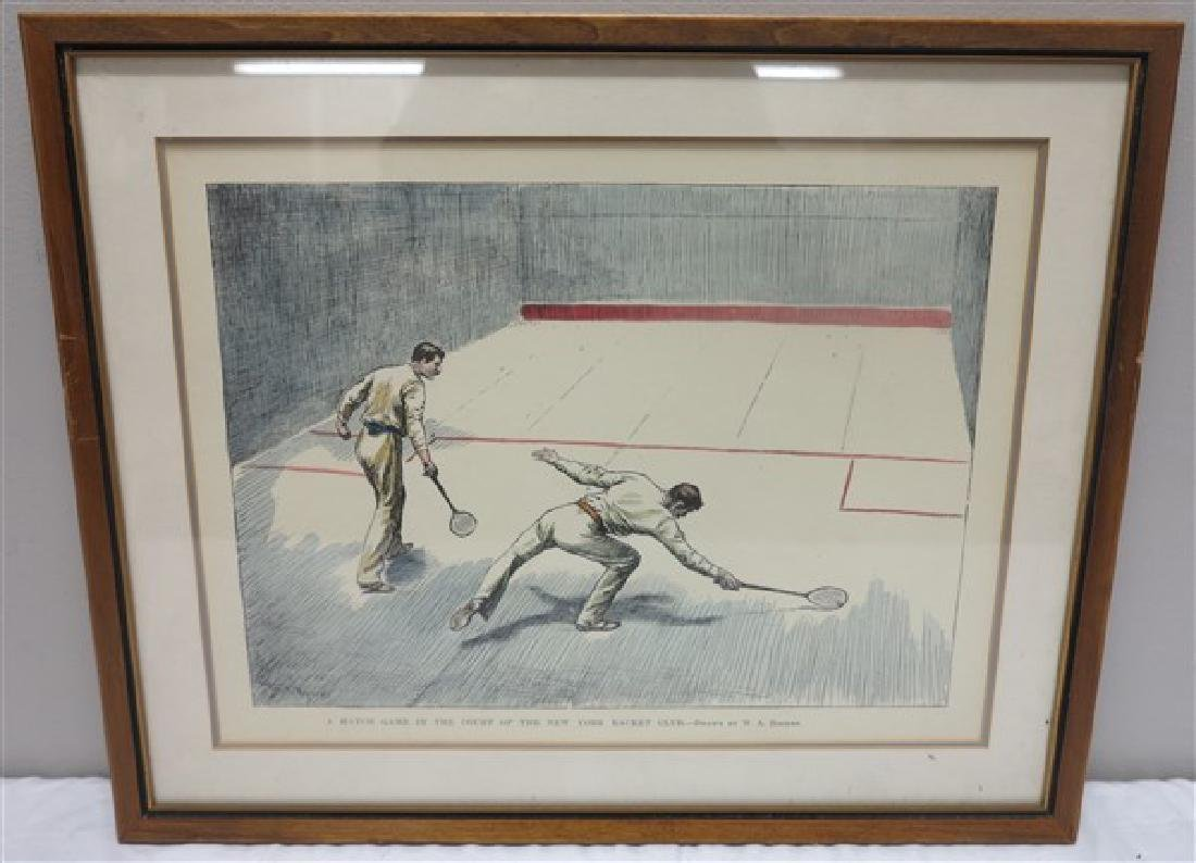 Framed English prints, hand colored rowing print 26 X - 4