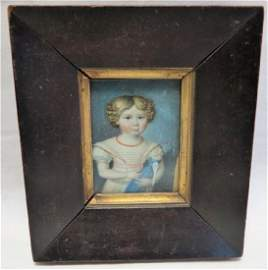 Miniature portrait girl with doll 2 X 3