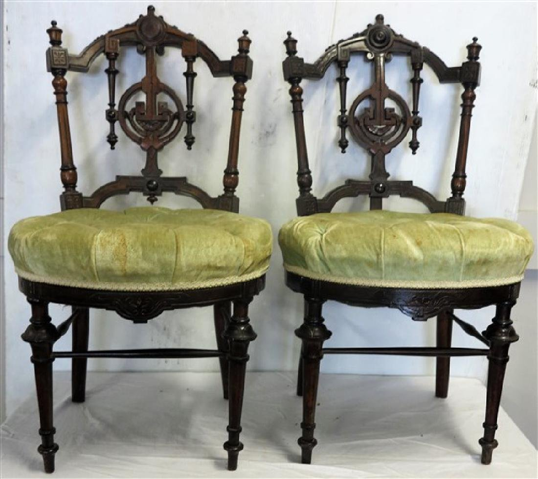 2 19th century aesthetic side chairs