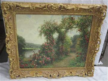 "O/c Louis Aston Knight Gilt framed ""A River Bank..."