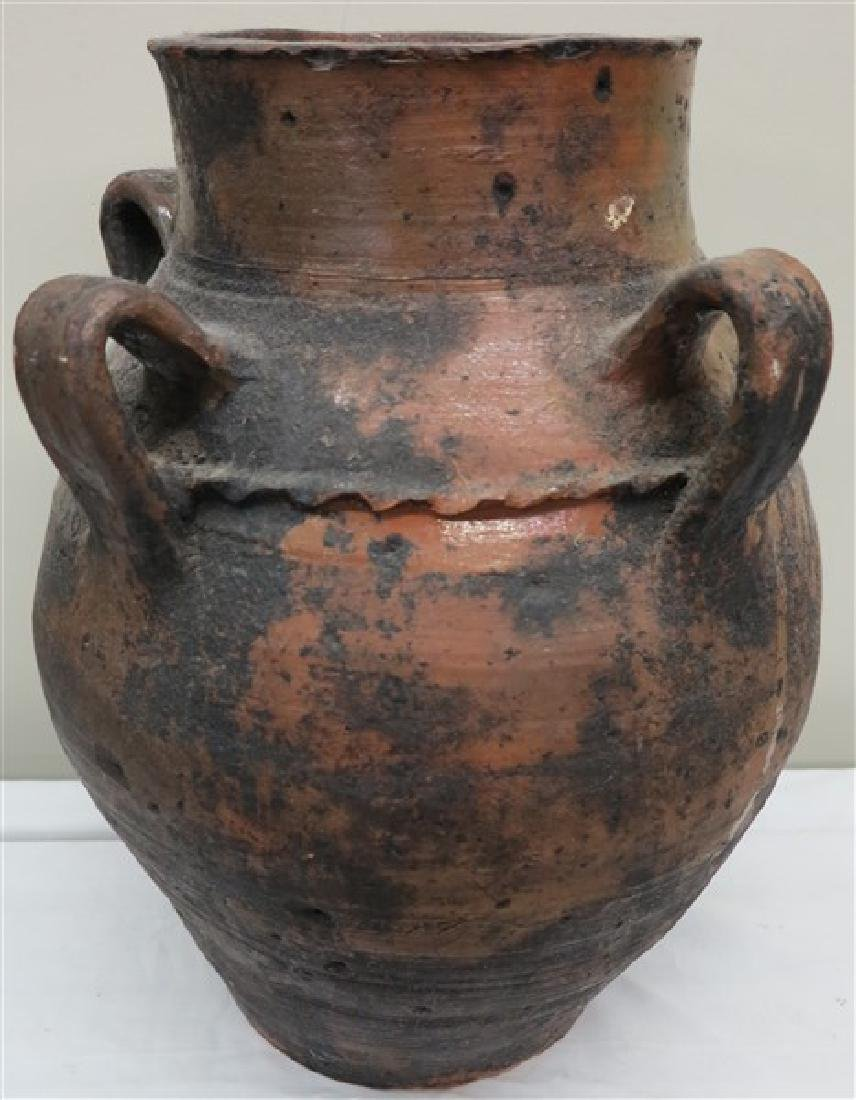 "21"" 4 handle terra cotta vessel"