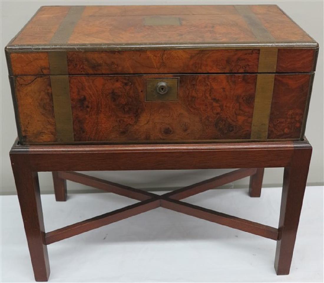 Burl 19th century travel desk on stand
