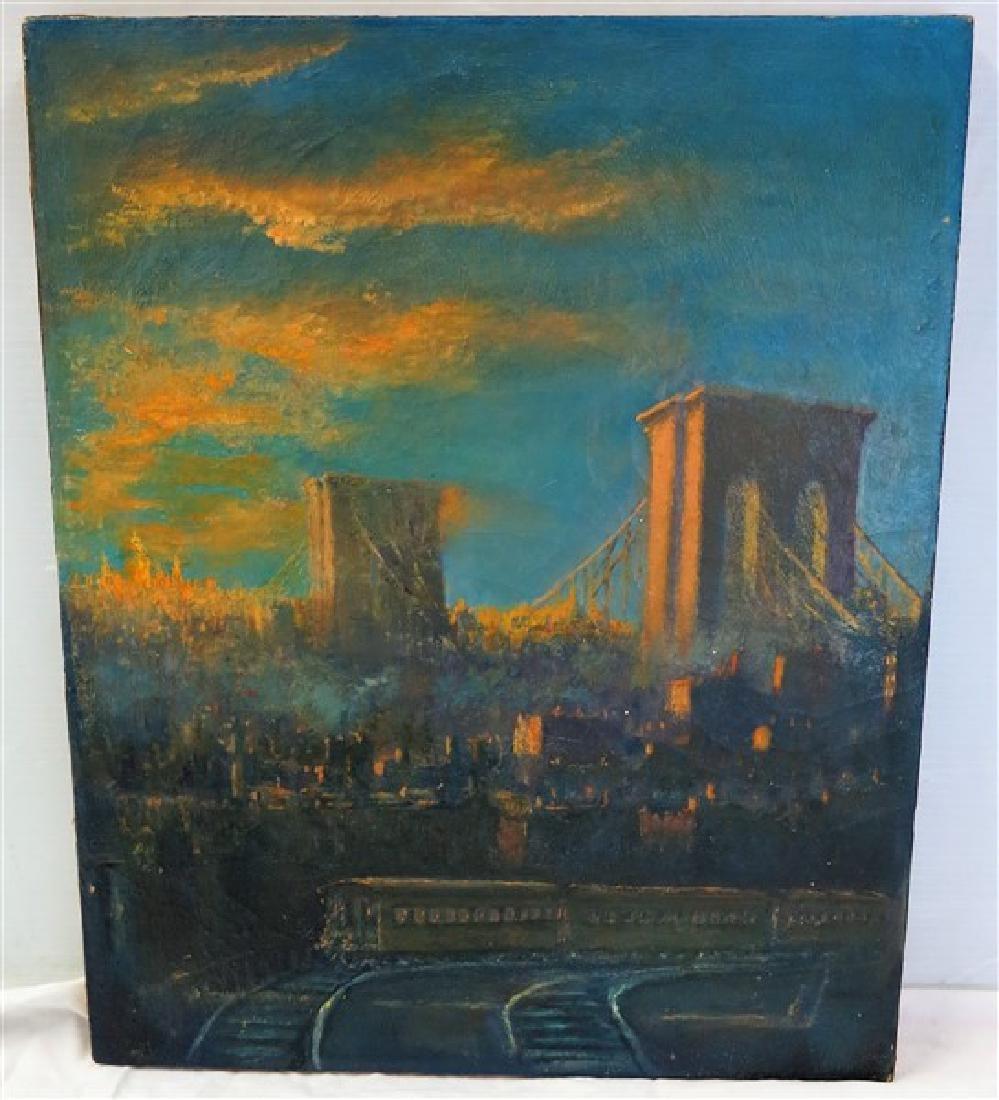 Unframed o/c bridge scene G. Seidler 16 X 20