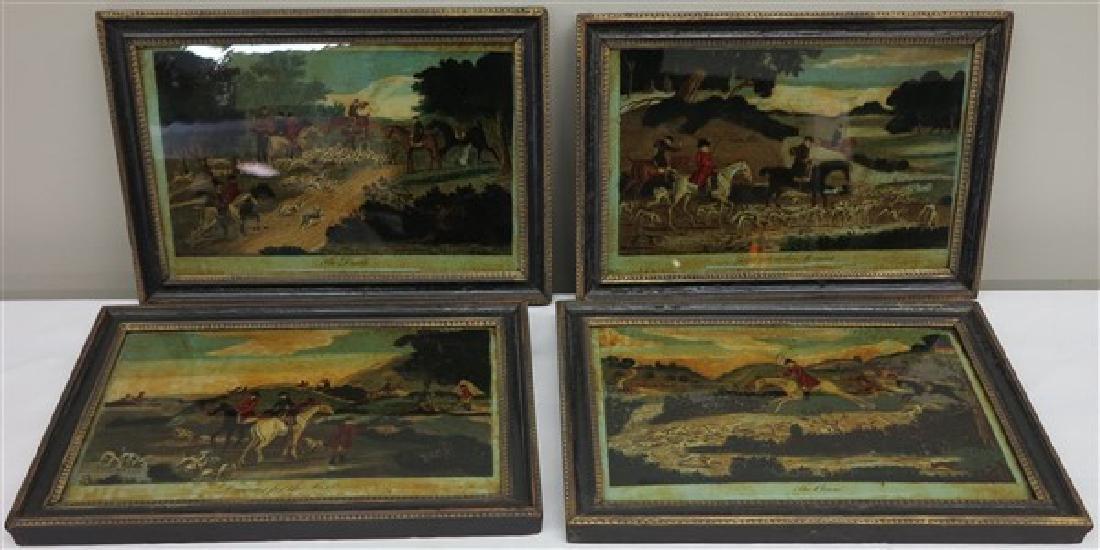 4 hunt scenes laid down on glass