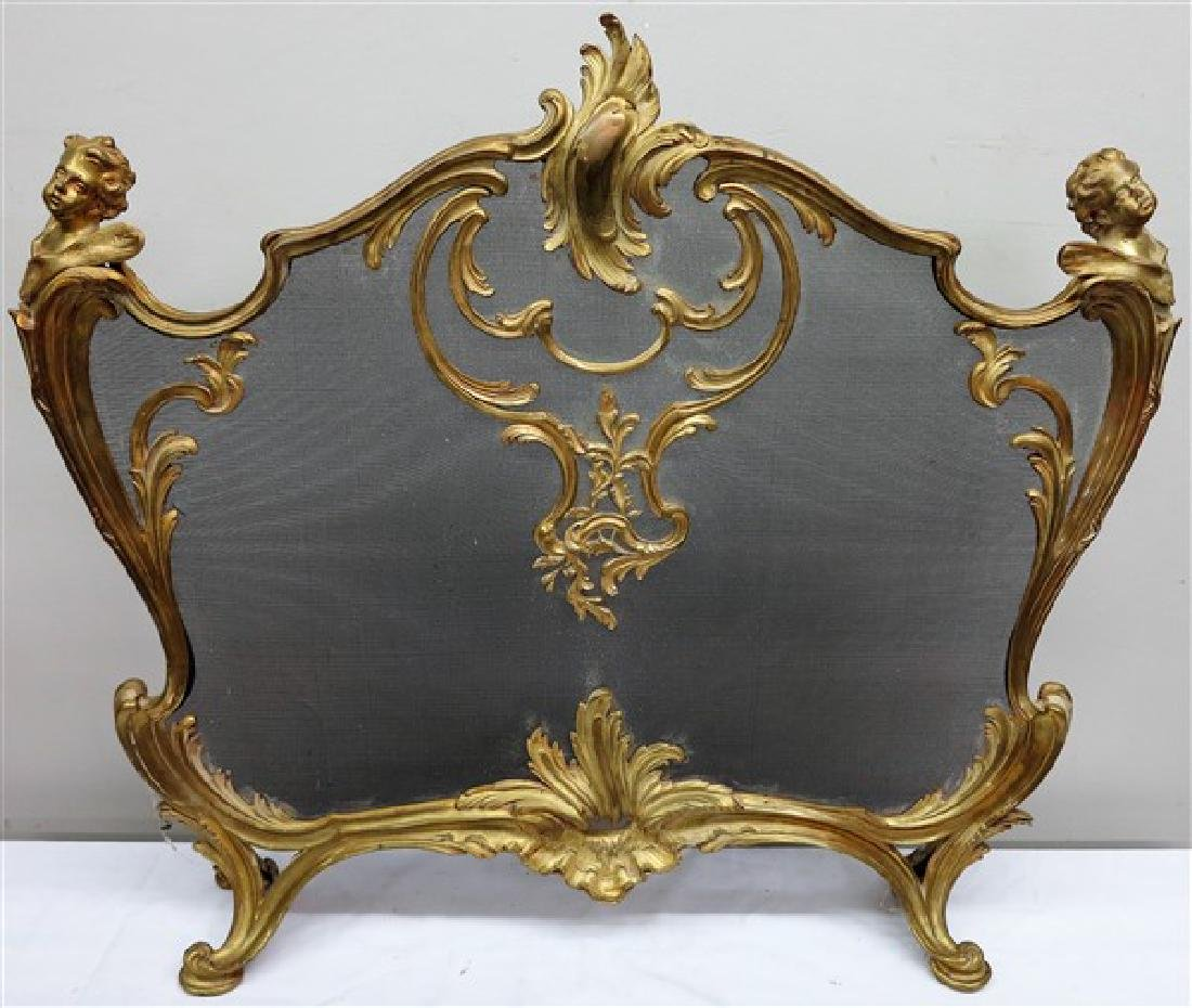 "Gild bronze French fire screen 33"" high"
