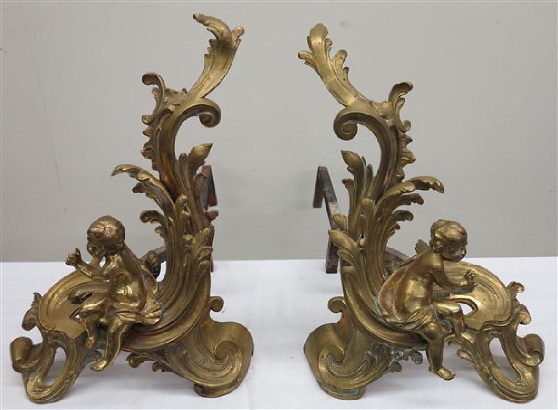 Gild bronze chenets
