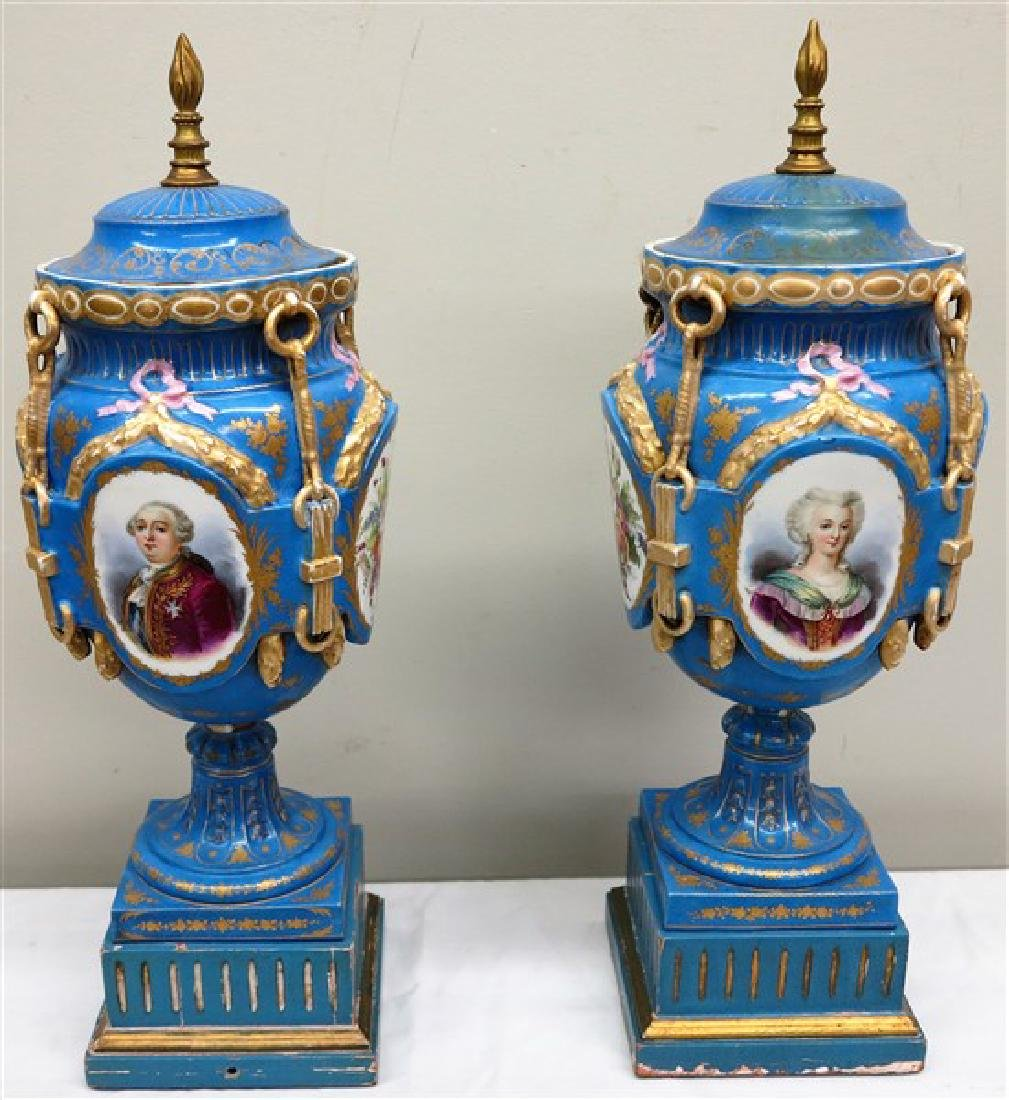 "Pair 22"" hand painted French urns"