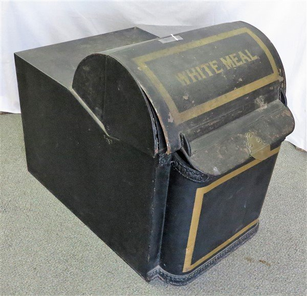 """Tole """"white meal"""" country store bin"""