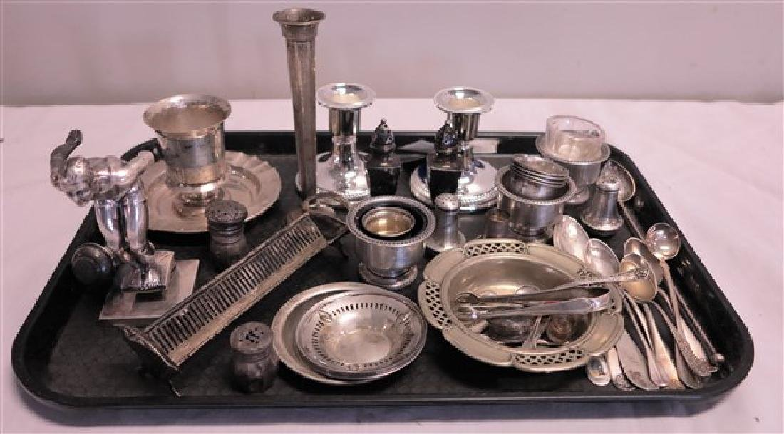 Tray lot of sterling and silver plate