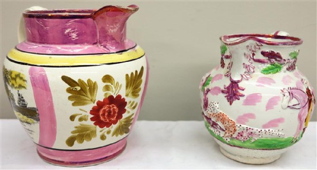 2 19th century English lustre pitchers Sunderland