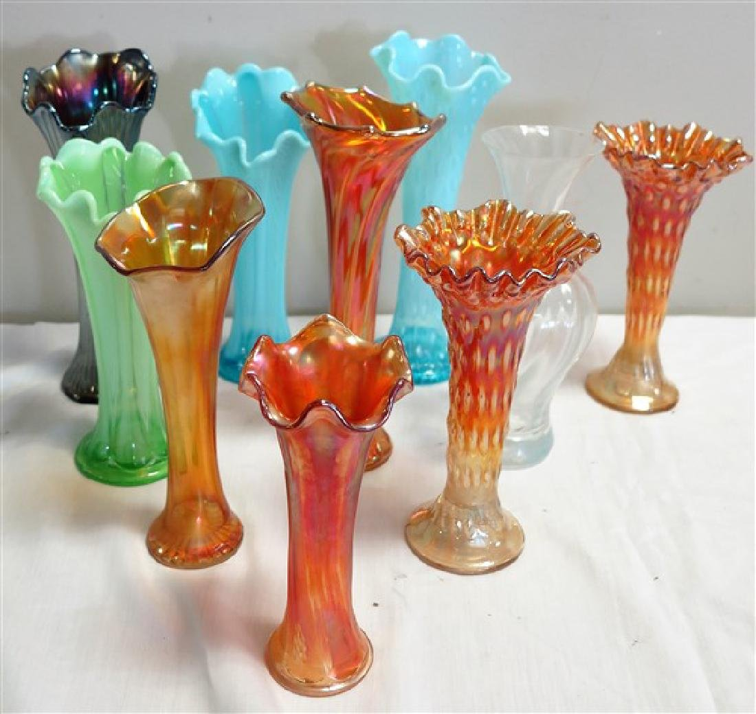 Group of 10 carnival glass vases