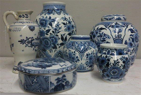6 pc Delft and Tiffany Porcelain lot